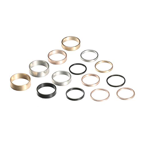 Minimalist Ring Set 14 Pcs,Haluoo Gold Black Silver Rose Gold 1Mm 3Mm 5Mm 6Mm Stainless Steel Women'S Plain Band Knuckle Stacking Midi Rings Finger Rings For Men Simple Jewelry (Silver,Gold,Rose Gold)