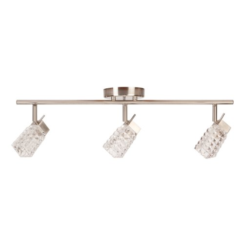 Globe Electric 58523 3 Light Track Lighting Kit, Brushed Steel Finish with Crystal Glass Track (Head Monorail Kit)