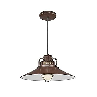 """Millennium Lighting RRRC18-ABR R Series - 18"""" One Light Cord Hung Pendant with Railroad Shade, Architectural Bronze Finish with Etched Glass"""