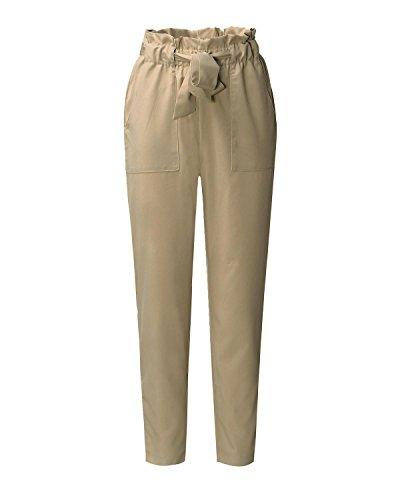 Kaki Cravate Pantalon Sport Styledome Bureau Femmes Cordon Mode Poches Maigre Élégant FPnqv86ZP