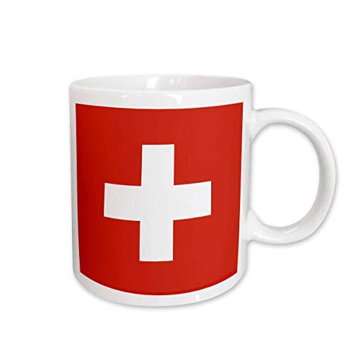 3dRose 3dRose Flag of Switzerland - Swiss red and white cross - Europe - European country - world travel souvenir - Ceramic Mug, 11-ounce (mug_158442_1), White