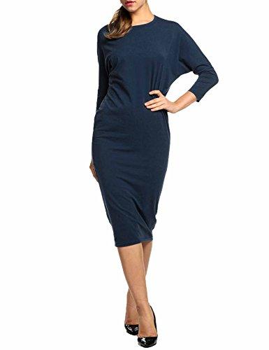 n Span Long Sleeves Casual Slim Fit Jersey Dress (Navy Blue XL) ()