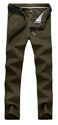 Plaid&Plain Men's Skinny Stretchy Khaki Pants Colored Pants Slim Fit Slacks Tapered Trousers 819 Army Green 32X32