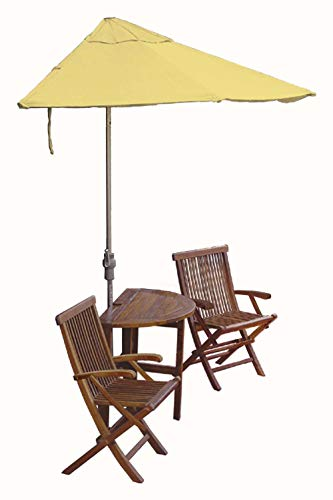 (Blue Star Group Terrace Mates Caleo Premium Table Set w/ 9'-Wide OFF-THE-WALL BRELLA - Yellow Olefin Canopy)
