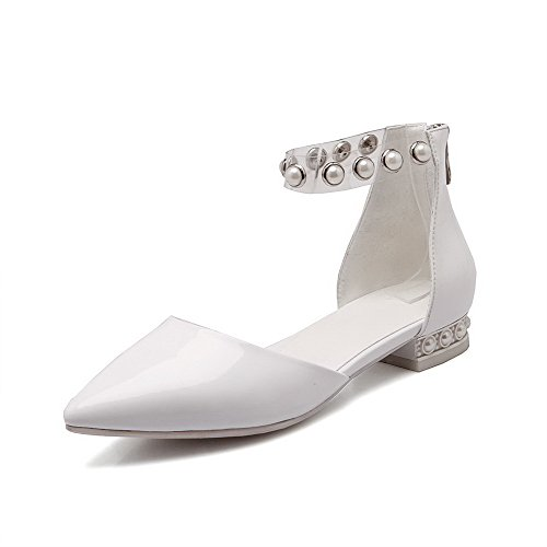 AllhqFashion Womens Closed Pointed Toe Low Heels Cow Leather Solid Sandals with Wrist Strap White W4tlj3