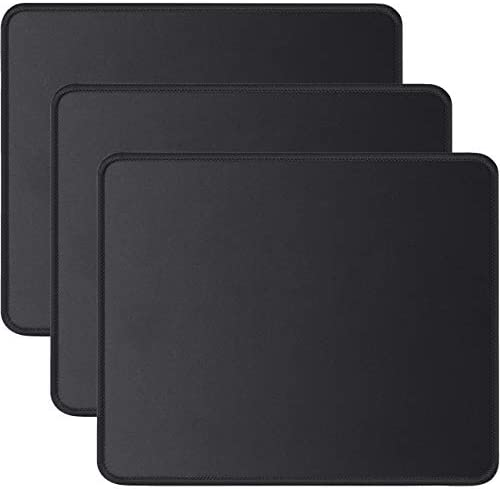 JIKIOU 3 Pack Mouse Pad with Stitched Edge, Mouse Pad with Non-Slip Rubber Base, Washable Mousepads Bulk with Lycra Cloth, Comfortable Mouse Pads 10.2x8.3x0.12inch Black