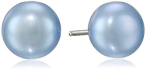 Honora Sterling Silver Sky Blue Button Freshwater Cultured Pearl Stud Earrings