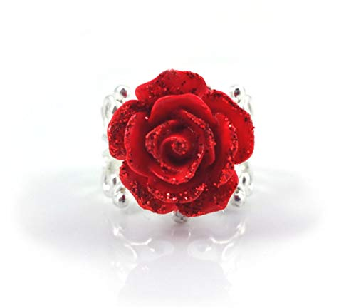 Little Gem Girl Beauty and The Beast Enchanted Red Rose Sparkle Ring Bronze or Silver Filigree Adjustable Band (Silver Ring)