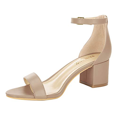 Eunicer Women's Single Band Classic Chunky Block Low Heel Sandals with Ankle Strap Dress Shoes,Nude Pu,10 B(M) US