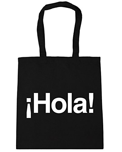Shopping Hola Spanish litres Bag HippoWarehouse Tote Beach 42cm Black x38cm Greeting Gym 10 xfITpdqn