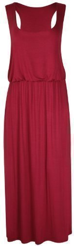 PurpleHanger Women's Toga Long Vest Maxi Dress Plus Size Burgundy 12-14 (Toga For Women)