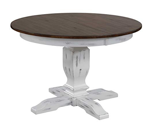 (Iconic Furniture Company RD45-T-DBN-DWT BS-RD45-TR-DWT Round Dinning Dinnig Table, 63, Cocoa Brown/Distressed Cotton White)