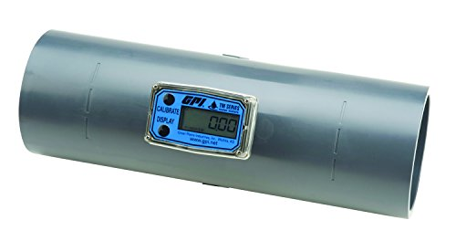FLOMEC TM300, PVC Turbine Flowmeter for Use with Water & Mild Chemicals, 3-Inch Spigot Fitting, 40-400 GPM, LCD Display, +/-3 Percent Accuracy, Durable Schedule 80 ()