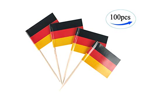 JBCD Germany Flag German Flags,100 Pcs Cupcake Toppers Flag, Country Toothpick Flag,Small Mini Stick Flags Picks Party Decoration Celebration Cocktail Food Bar Cake Flags