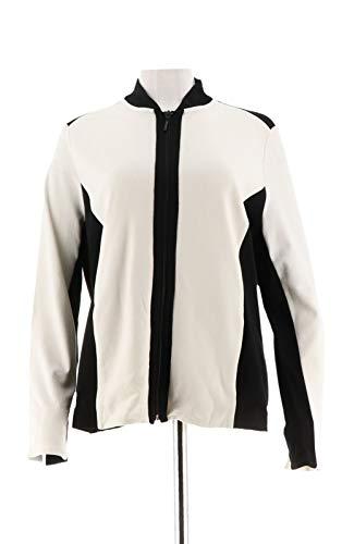 Susan Graver Ponte Knit Colorblock Zip Front Jacket Ivory Black XXS New A285435