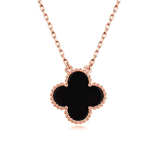 Asaa S925 Jewelry Sterling Silver Black/Red Onyx and Cubic Zirconia Four Leaf Clover Necklace with Adjustable Length for Women 18 (Black-Rose Gold Plated) ()
