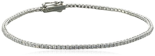 14k White Gold Cubic Zirconia Round Brilliant Classic Style Eternity Tennis Bracelet, 8'' by Amazon Collection