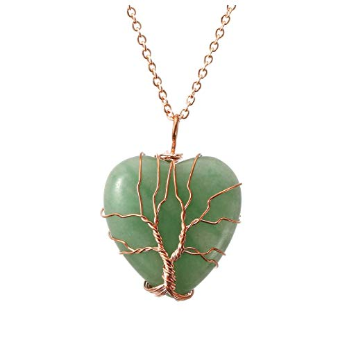 (Top Plaza Natural Green Aventurine Healing Crystals Necklace Tree of Life Wire Wrapped Stone Heart Pendant Necklaces Reiki Quartz Jewelry for Womens Girls Ladies)