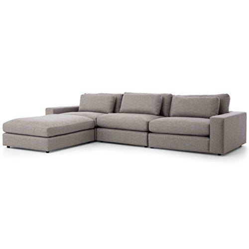 Cornerstone Modern Classic Grey Fabric Sectional Sofa – 131×92