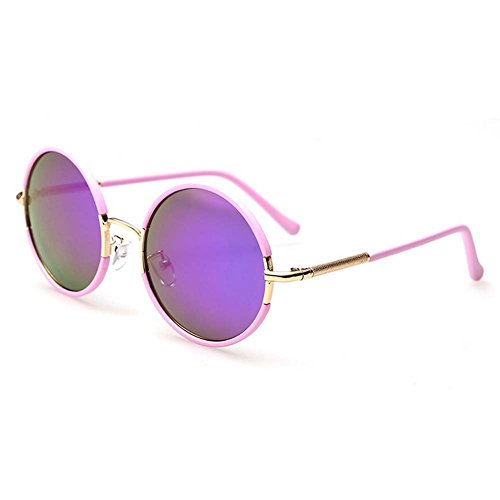 LOMOL Girls Fashion Trendy Metal Frame Reflective Lens UV Protection Cute Round - Outlet Bass Sale