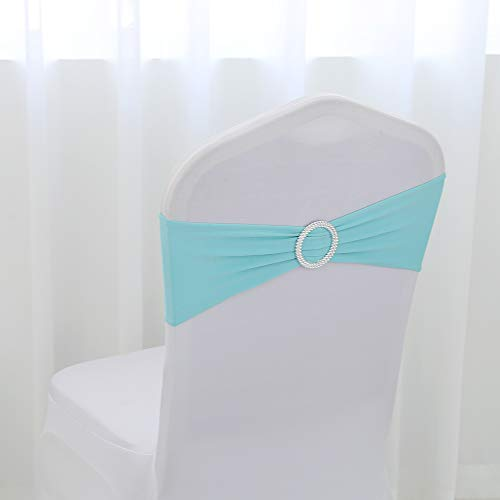 Ring Lycra Stretch - TRLY Water Blue Lycra Chair Band Stretch Elastic Spandex Chair Bow with Round Ring for Wedding Banquet Party Decoration Event Chair Sashes,60 Pack