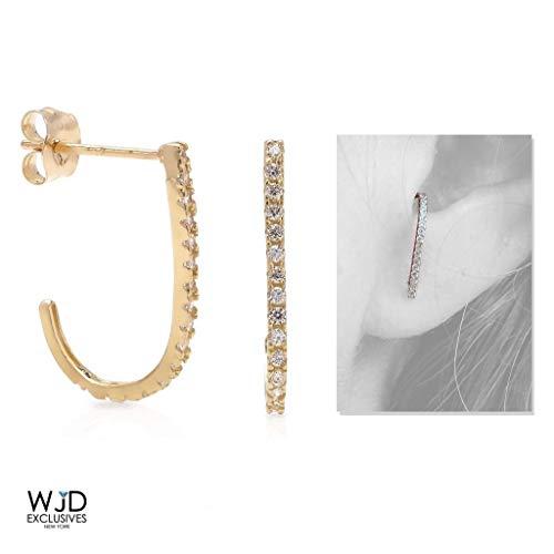 14K Yellow Gold 0.40Ct Simulated Diamond Suspender J Hook Earrings