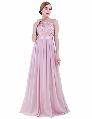 iEFiEL Summer Wedding Floral Lace Crochet Bridesmaid Chiffon Dress Evening Gown Dusty Rose 6