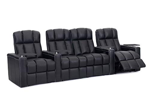 Octane Dynamo XL400 Black Leather Home Theater Seating (Set of 4) ()