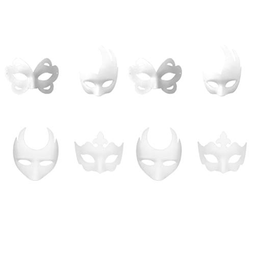 Supvox 8pcs White Masks, DIY White Half Face Masks, Halloween Costume Mask DIY Cosplay Mask for Party Masquerade Costume Halloween]()