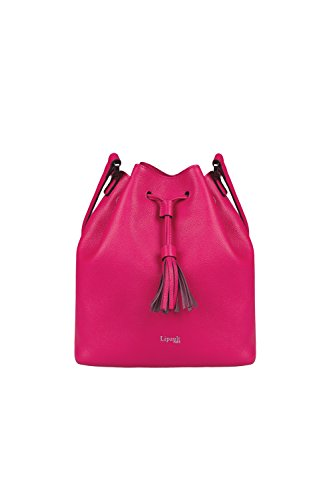 (Lipault - Plume Elegance Bucket Bag - Medium Drawstring Shoulder Crossbody Handbag with Tassel - Tahiti Pink)