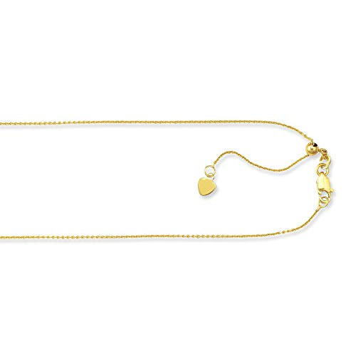 JewelryWeb 10k 22 Inch .9mm Yellow Gold Adjustable Cable Chain Necklace