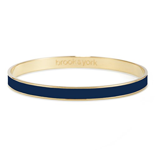 Brook & York Gold Plated Bangle Bracelet with Personalized Color Enamel (1/4 inch Wide; 7 3/4 inch - Plated Navy Gold