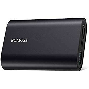 Portable Charger with Longest Battery Life, ROMOSS 10000mAh Aluminum Power Bank 2-Port 4.8A Max Output, External Battery Packs with Type-C & Micro-USB Input for iPhone, iPad, Samsung Galaxy and More