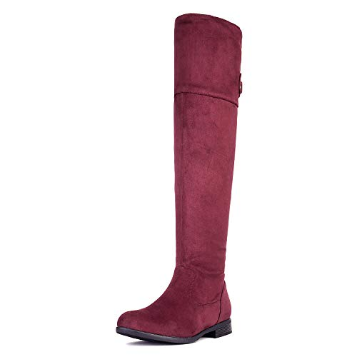 - DREAM PAIRS Women's HI_Flat Burgundy Over The Knee Stretchy Thigh High Boots Size 11 B(M) US