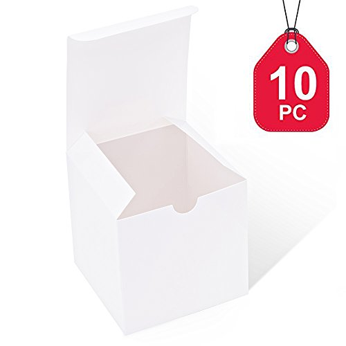 MESHA White Boxes 10 Pack 4 x 4 x 4 Inches, White Paper Gift Boxes with Lids for Gifts, Crafting, Cupcake Boxes
