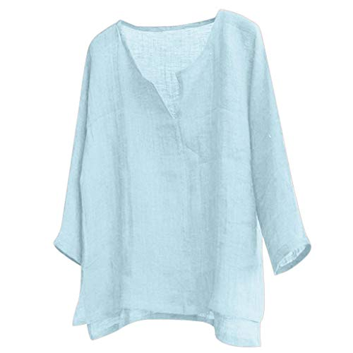 KINGOL Mens Brief Breathable Long Sleeve Solid Color Loose Casual Cotton and Linen T Shirt Tops Blouse Blue ()