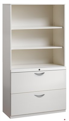 2 Drawer Trace Lateral File Cabinet 30quotW Steel With Bookcase Hutch