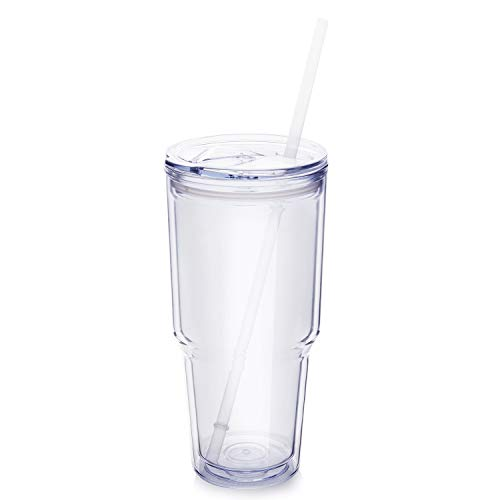 Masvis 24oz Tumbler Plastic Coffee Cup with Lid, Straws - Travel Mug Works Great for Ice Drink, Hot Beverage (24oz Double Wall (Double Wall Travel Tumbler)