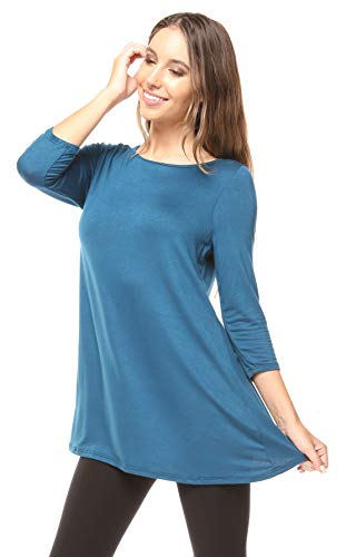 Free to Live Women's Extra Long Flowy Elbow Sleeve Jersey Tunic Made in USA (Small, Teal) Cable Knit Logo Sweater