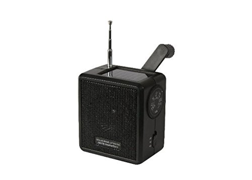 Black Solar Sun Powered Hand Crank Wind Up AM FM Weather Band Survival Radio ()