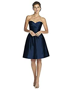 Alfred Sung Women's Strapless Cocktail Length Peau De Soie Dress by Midnight - Size 8