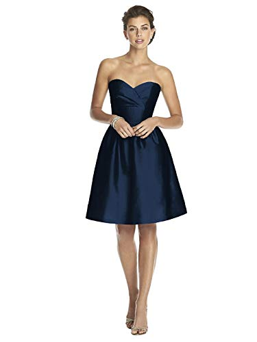Alfred Sung Women's Strapless Cocktail Length Peau De Soie Dress by Midnight - Size 16 by Alfred Sung