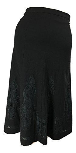 (Elie Tahari Women's Baxter A-Line Embroidered Stretch Wool Midi Skirt, Black, 0)