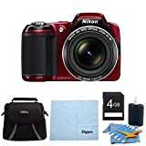 Nikon COOLPIX L810 16.1 MP Digital Camera with 26x Zoom NIKKOR ED Glass Lens and 3-inch LCD (Red) 4GB Deluxe Bundle, Best Gadgets