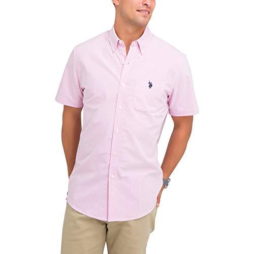 U.S. Polo Assn. Men's Solid Stretch Oxford Short Sleeve Shirt Light Pink, Medium