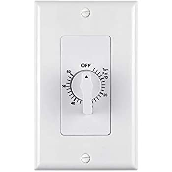 BN-LINK Heavy Duty 60-Minute In-Wall Spring Loaded Countdown Timer, Mechanical Switch,For bathroom Fan,lights timer, 2 Free Plate (White and Silver Metallic)
