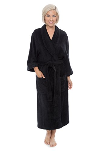 Womens Luxury Terry Cloth Bathrobe - Bamboo Viscose Robe by Texere (Ecovaganza, Black, Small/Medium) Comfortable Wrap Robes for Teen Girls Ladies Women WB0101-BLK-SM