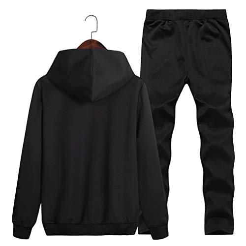 Hoodie Manche Ensemble Homme Pantalon Longue Kuncg Poche Imprimé Sport Capuche Survêtement Sweatshirt Jogging Noir De Avec AfOwvH