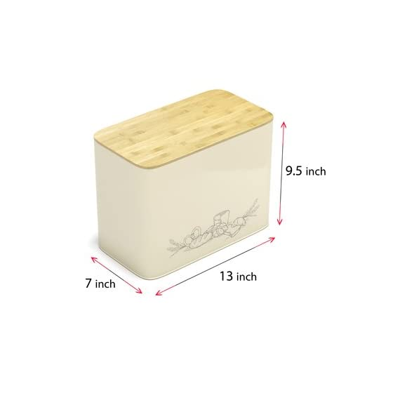 Extra Large Space Saving Vertical Bread Box With Eco Bamboo Cutting Board Lid - Holds 2 Loaves - Cream Extra Large Farmhouse Breadbox Bread Holder By Cooler Kitchen 4 Space Saving Extra Large Vertical Bread Box With Eco Bamboo Cutting Board Lid