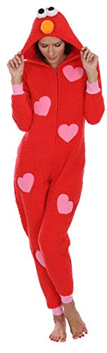 Sesame Street Women's Elmo Plush One Piece Pajamas, Red, Size -
